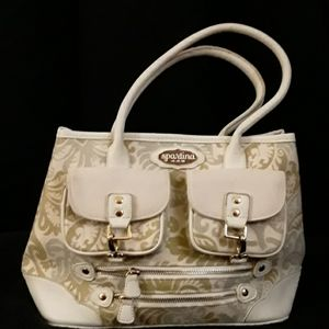 Spartina 449 Linen/ Leather  Handbag NWOT